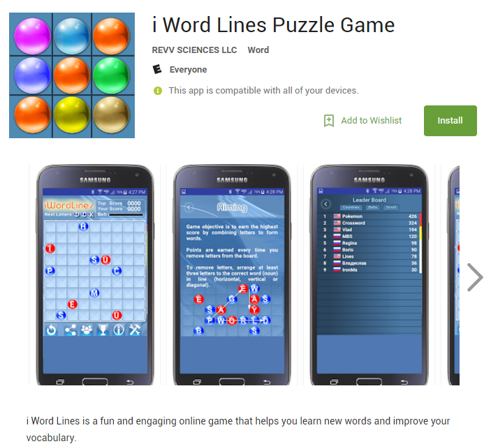 i-word lines puzzle game android app