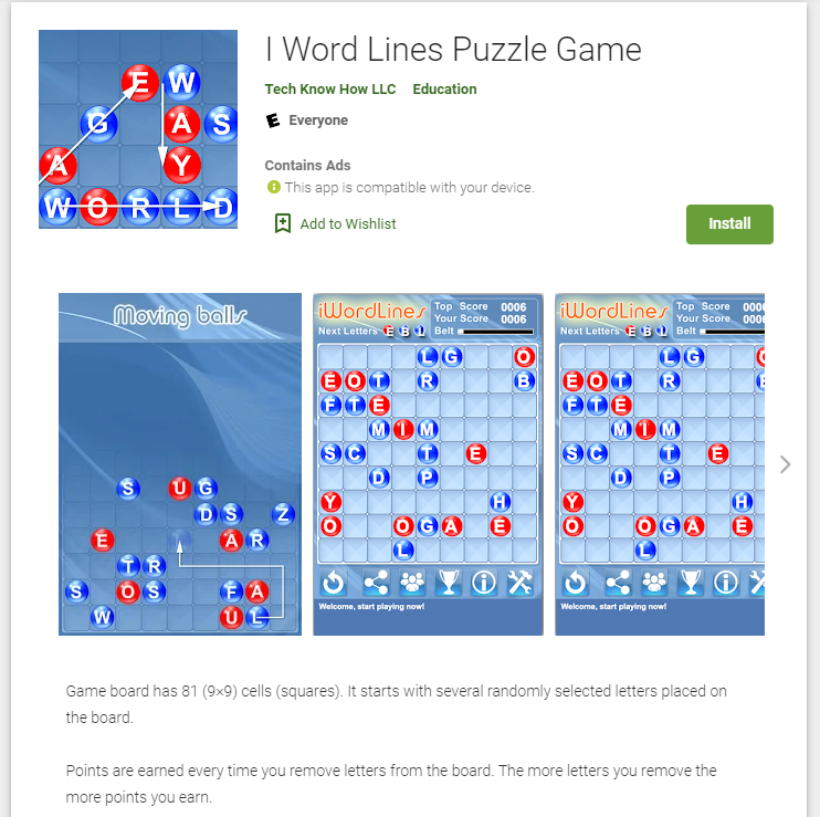 I Word Lines Puzzle Game Android App